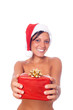 Sexy Topless Woman with Santa Hat and Christmas Gifts