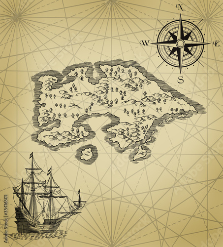 Pirate map with galion