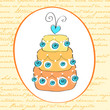 Cute retro wedding cake card