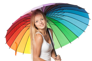 Portrait of beautiful blond female under umbrella