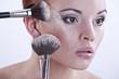 beautiful face and makeup brush