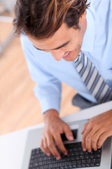 Closeup on businessman typing on keyboard