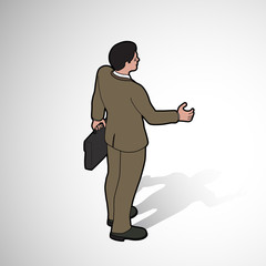 Isometric man shaking hand
