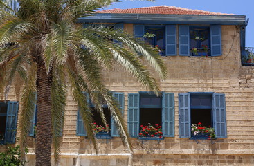 colonial house with geraniums in Jaffa
