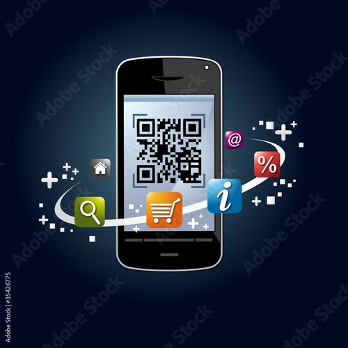 qr code, flashcode, smartphone