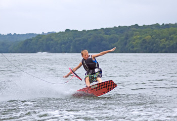 Young Wakeboarder Falling