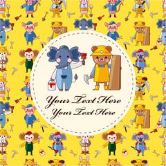 cartoon animal worker card