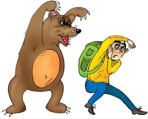 Tourist and wild bear