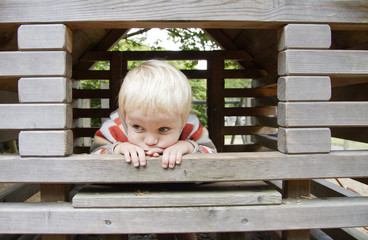Cute blond boy playing in wooden climbing frame