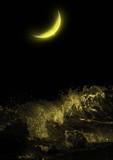 half moon over the sea at night