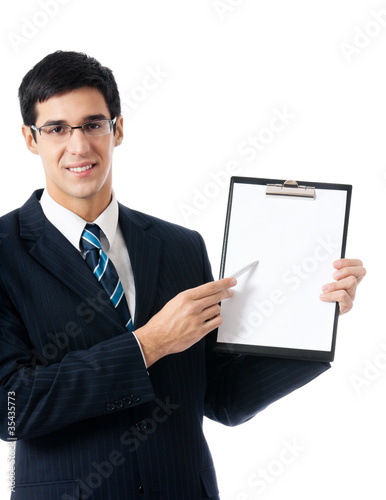 Businessman with clipboard, on white