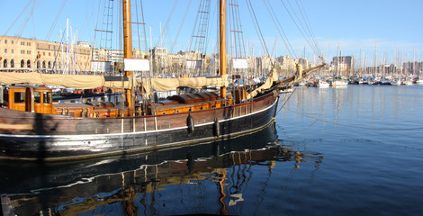 old sailing ship in port of barcelona, Port Well, spain