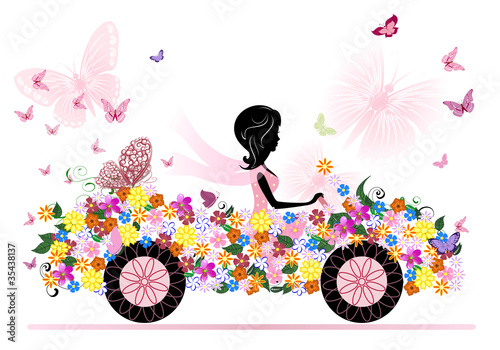 girl on a romantic flower car - 35438137