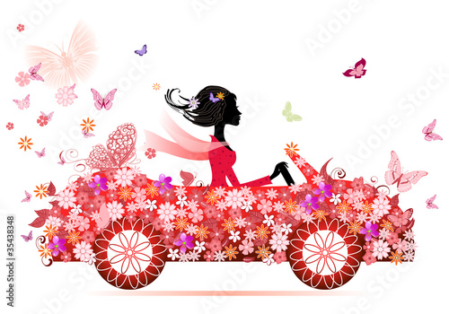 Fotobehang Floral Vrouw girl on a red flower car