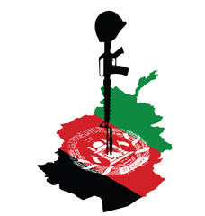 map of Afghanistan and rifle of fallen soldier