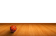 Wall and wooden floor with A basketball