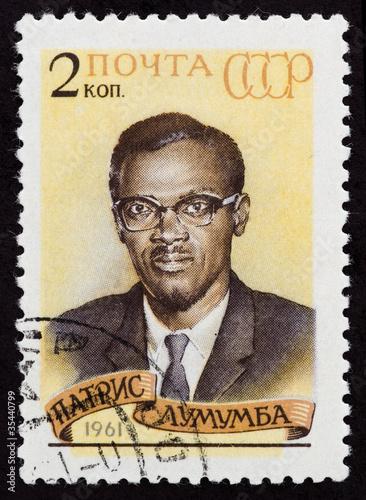 Poster Postal stamp. Patrice Emery Lumumba, 1961