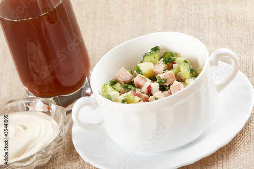 Cold vegetable soup with kvas and mayonnaise