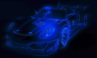 Neon blue car