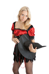 teenager girl in Halloween witch