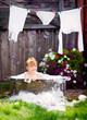 Little girl in a retro bath