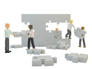 A team building a grey wall against a white isolated background
