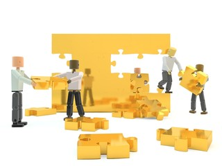 A team building a gold wall against a white isolated background