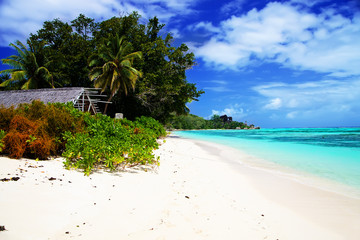 View of white sandy beach Anse Union