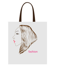 Vector illustration:  fashion bag with girl