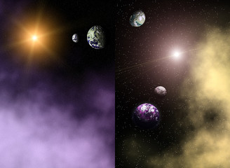 Abstract cosmic background with planet and nebula