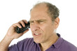 man middle age emotional upset angry telephone conversation