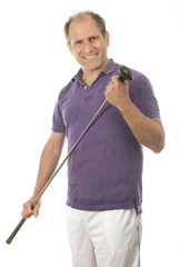 man middle age golfer wood club