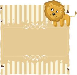 Papel com listras e um Leão
