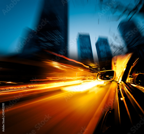 speeding car through city