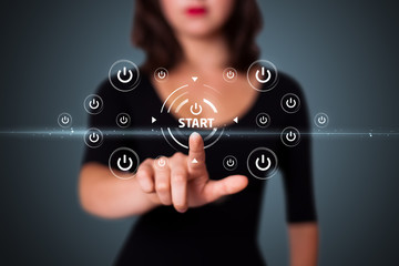Businesswoman pressing simple type of start buttons