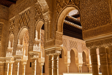 Alhambra de Granada. Moorish arches in the Court of the Lions
