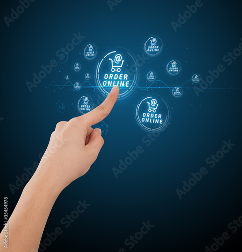 Businessman pressing virtual promotion and shipping type of icon