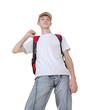 Casual teenage boy preparing to school standing