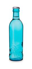 blaue Wasserflasche mit Kronkorken