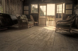 Nostalgic retro effect Summer Boat House with glowing sun poster