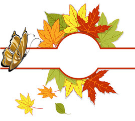 banner with autumn leaves and a butterfly