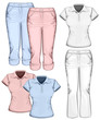 Women's trouser jeans and polo-shirt