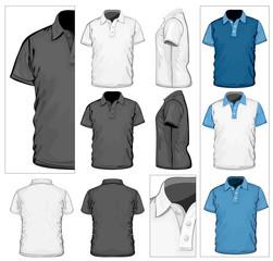 Vector. Men's polo-shirt design template.No mesh.