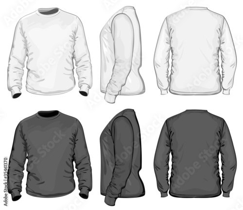 Vector. Men's t-shirt design template. long sleeve.