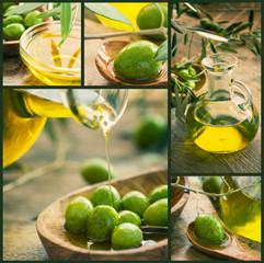 Freshly harvested olives, olive oil on olive wood