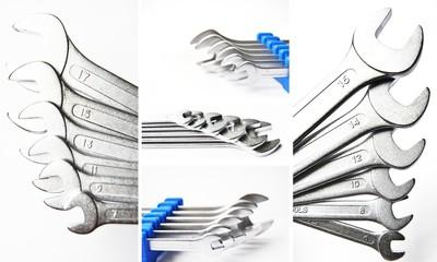 Schraubenschlüssel -Set collage weiß