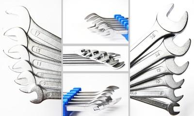 Schraubenschlüssel -Set collage grau