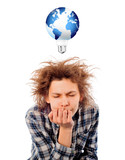 Portrait of funny tired young man with awesome hairdo isolated o poster