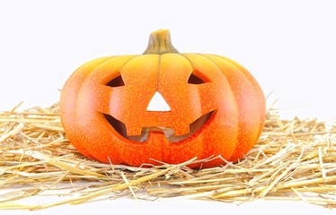 Calabaza de Halloween sobre paja.
