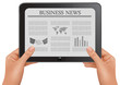 Hands holding digital tablet pc with business news. Vector